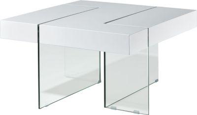 Design Glas Couchtisch Wohnzimmer Tisch Beistelltisch Glastisch Stubentisch weiß