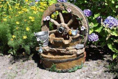 66cm Brunnen Holz Stein Optik Wasserspiel Springbrunnen Kaskaden Rad Garten | Garten > Brunnen | Garden Pleasure