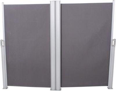 Doppel Seitenmarkise 160x600 Seitenwandmarkise Markise Windschutz Sichtschutz | Garten > Balkon > Sichtschutz | Grau | Stahl | Garden Pleasure