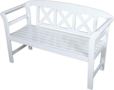 Bank 2 Sitzer Eukalyptus Holz Garten Parkbank Sitzbank Weiß