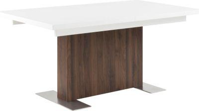 Esstisch BERN weiss hochglanz/Walnuss Küchentisch Esszimmertisch Tisch