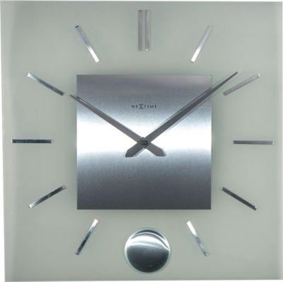 NeXtime Wanduhr STRIPE PENDULUM SQUARE 40x40cm Pendeluhr Glas Edelstahl Uhr