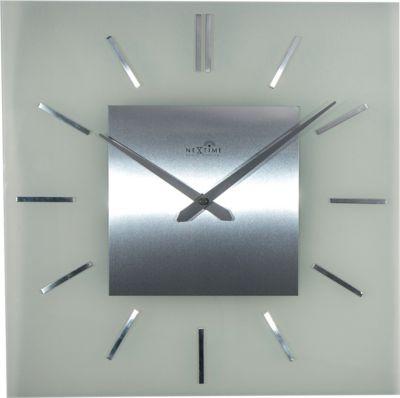 NeXtime Wanduhr STRIPE SQUARE RADIO CONTROLLED 40x40cm Funkuhr Glas Funk Uhr