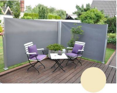LECO Doppel-Seitenmarkise Windschutz Sichtschutz Markise 1,60 x 6,00m natur   Garten > Balkon   Leco