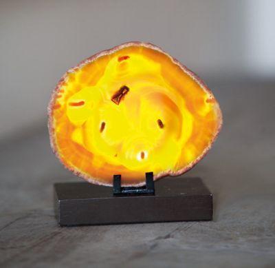 Unikat Steinleuchte echter Achat Naturstein Tischlampe Wellness Lampe Licht 10W