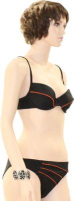 eleMar Trend Bikini Tankini Badeanzug Schwimmanzug Bademode Bügel Push Up Sommer Elemar Bikini ´´Sandra´´ schwarz / karotte Gr.36