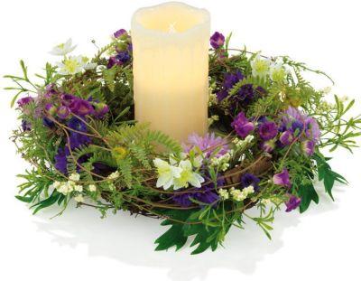 Candle Maxx Deko Kranz m. LED Echtwachskerze Tischkranz Kerzenkranz Blütenkranz