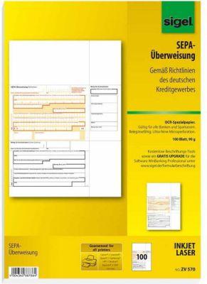 Sigel PC SEPA Überweisung ZV570 Vordruck Zahlsc...