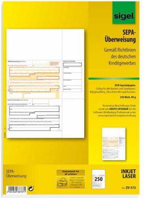 Sigel PC SEPA Überweisung ZV572 Vordruck Zahlsc...