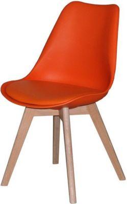 2 x Designerstuhl CHARLIE Esszimmerstühle Retro Stuhl Sitz Gruppe orange Eiche
