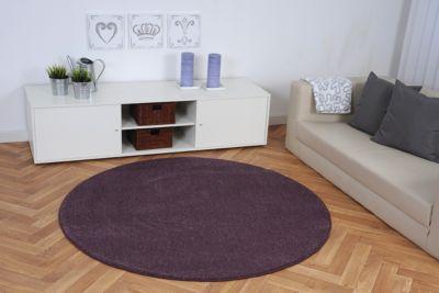 Luxus Hochflor Teppich Buffalo lila 80 cm rund
