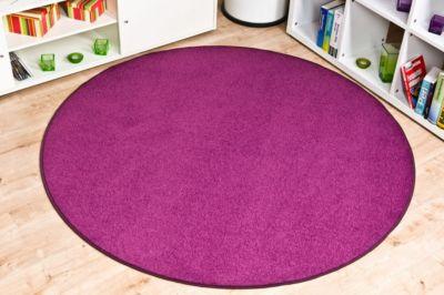 Velours Teppich Trend rund Lila 180 cm rund