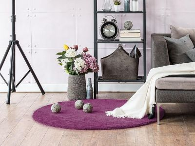 Komfort Shaggy Teppich Happy Wash rund Lila 180 cm rund