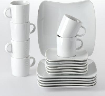 Kaffeeservice ´´Sandy´´, Porzellan Form 2005, weiß, 18-teilig (1 Set)