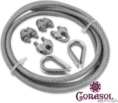 Corasol COR19SET7 Montageset Nr. 7 Stahlseil 10m, verzinkt inkl. Zubehör für Sonnensegel, silber, 7-teilig (1 Set) | Garten > Sonnenschirme und Markisen > Sonnensegel | Stahl | Corasol