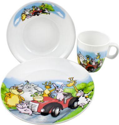 Kinder-Geschirr-Set ´´Tiere´´, Porzellan, im Geschenkkarton, bunt, 3-teilig (1 Set)