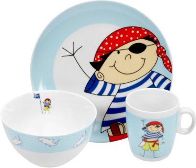 Kindergeschirr ´´Pirat´´, Porzellan, im Geschenkkarton, blau/weiß, 3-teilig (1 Set)