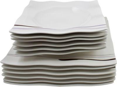 Tafelservice Primavera, Vitroporzellan, weiß, 12-teilig (1 Set)