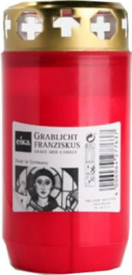 Eika Franziskus Grablicht, Kompositions-Öllicht, Ø 6x12,2cm, rot (1 Stück)