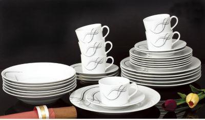 Kombiservice Bolero, Porzellan, mit Liniendekor, weiß, 30-teilig (1 Set)