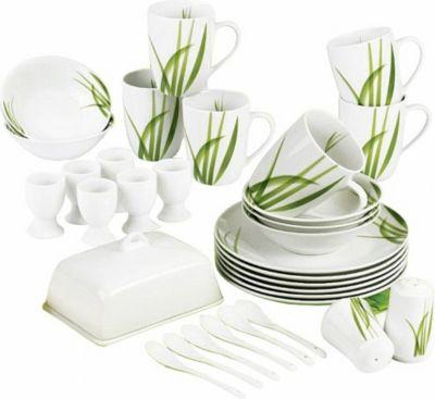 Frühstücksset ´´Meadow´´, Porzellan, mit Dekorstreifen, weiß, 33-teilig (1 Set)