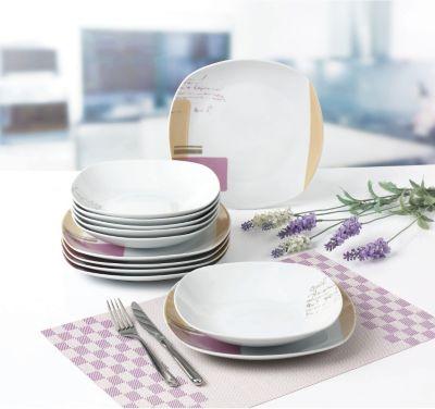 Tafelservice ´´Como´´ eckig, Porzellan, mit Dekor, weiß, 12-teilig (1 Set)