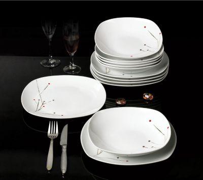 Tafelservice ´´Glamour´´ eckig, Porzellan, mit Golddekor, weiß, 12-teilig (1 Set)