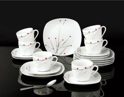 Kaffeeservice ´´Glamour´´ eckig, Porzellan, mit Golddekor, weiß/gold/rot, 18-teilig (1 Set)