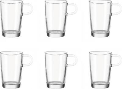 043366 ´´Loop´´ Leonardo 043366 Latte Macchiato Tasse mit Henkel ´´Loop´´, Glas, 400ml, H 12,4cm, transparent (6er Pack)
