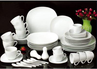 Kombiservice ´´Jeanette´´, Porzellan, eckige Coupform, weiß, 50-teilig (1 Set)