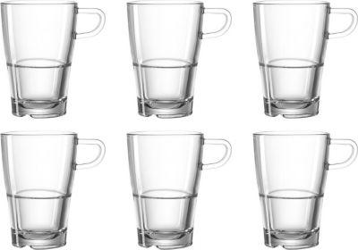 024014 ´´Senso´´ Leonardo 024014 Latte Macchiato Tasse ´´Senso´´, 230ml, stapelbar, Glas, transparent (6er Pack)