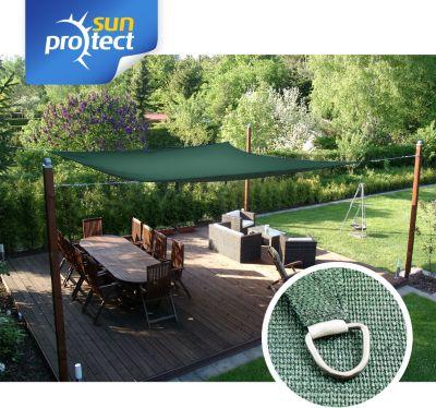 sunprotect 83244 Professional Sonnensegel, 3,5 x 4,5 m, rechteckig, wind- &amp| wasserdurchlässig, grün | Garten > Sonnenschirme und Markisen > Sonnensegel | Sunprotect