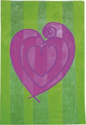 110-133 Kinder Teppich Herz, 80x120cm, mit Herz, grün/violett (1 Stück)