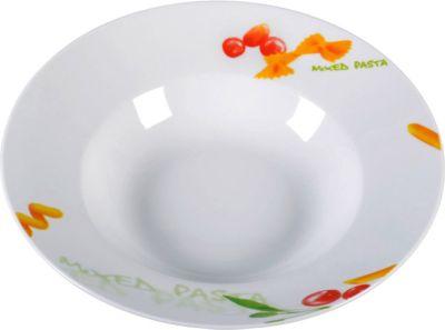 678110 ´´Light Line´´ Pastateller Design, Porzellan, Ø? 26,5cm, weiß/orange/grün (1 Stück)