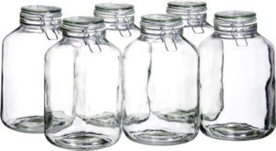 113967 ´´Gothika´´ Einmachglas, Einweckglas, 4,8l, mit Bügelverschluss, klar (6er Pack)