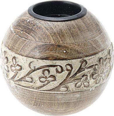 Teelichthalter aus Holz mit Verzierungen, Ø 10 x 10 cm, natur (Modell zufällig, 1 Stück)