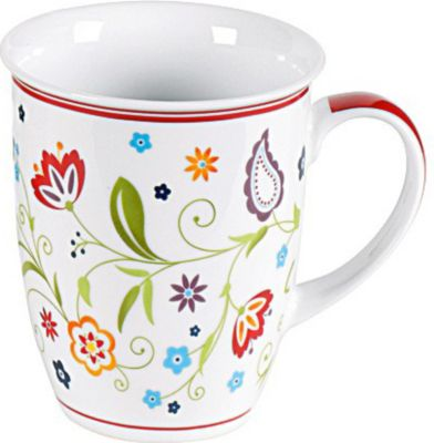 by R&ampB 018752 ´´Doppio Shanti´´ Kaffeebecher mit Paisley-Muster 320 ml, Porzellan, weiß (1 Stück)