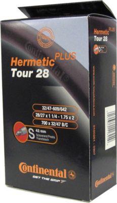 0182091 ´´Tour 28 Hermetic Plus´´ Schlauch, 27/28x1 1/4-1.75´´ (32/47-622/635) SV 42 mm, schwarz (1 Stück)