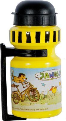 Trinkflasche Janosch Tigerente 300ml mit Halter, gelb/schwarz mit Motiv, gelb/schwarz (1 Stück)