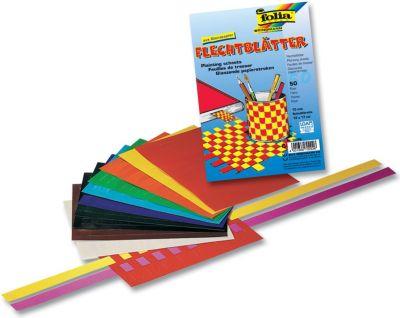 Folia Flechtblätter aus Buntpapier, 12x17cm, Schnittbreite 10mm, mehrfarbig (50 Paar) - Preisvergleich