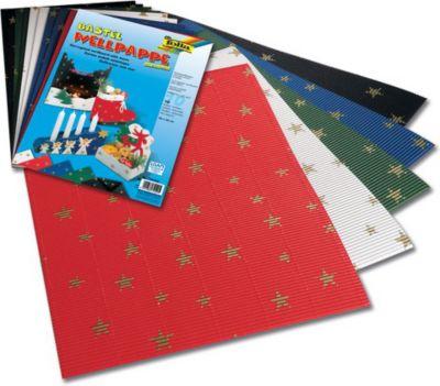 Weihnachts E-Wellpappe mit goldenen Sternen, 50x70cm, 10 Bogen, 5 Farben, gold/mehrfarbig (1 Stück)
