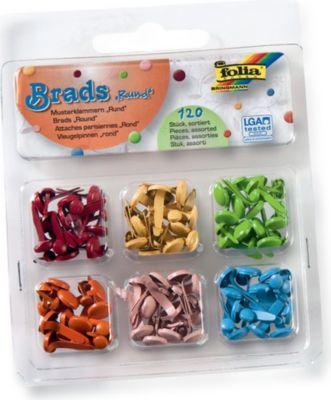 Folia Brads Rund, Musterklammern, 6 Farben, mehrfarbig, 120-teilig (1 Set)