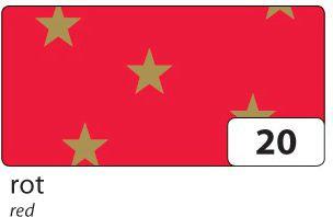 Weihnachts E-Wellpappe mit goldenen Sternen, 50x70cm, 10 Bogen, rot