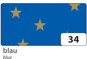 Weihnachts E-Wellpappe mit goldenen Sternen, 50x70cm, 10 Bogen, blau