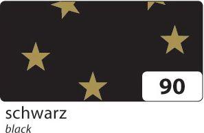 Weihnachts E-Wellpappe mit goldenen Sternen, 50x70cm, 10 Bogen, schwarz