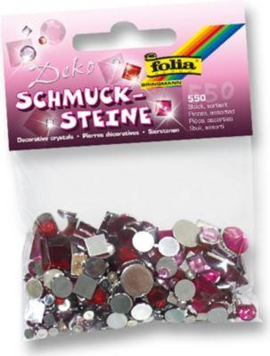 Deko Schmucksteine aus Acryl, Sweetheart, rot/rosa (550er Pack)