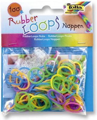 Rubber Loops Loom Gummibänder, 100 Stück, Noppen Neon Mix