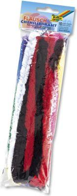 folia 772109 Chenilledraht, extra flauschig, Ø 2 x 50 cm, 10 Farben, mehrfarbig, 10-teilig (1 Set)