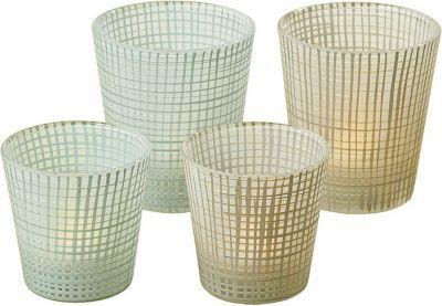 Windlicht ´´Jena´´, lackiertes Glas H 7,5 cm, 10 cm, 7,5 cm, 10 cm, 2-teilig (Farbe zufällig, 1 Set)