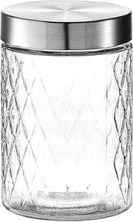 Zeller Present 19691 Vorratsglas Raute mit Metalldeckel, 1200 ml, klar/silber (1 Stück)